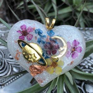 Pastel floral galaxy crystal necklace handmade